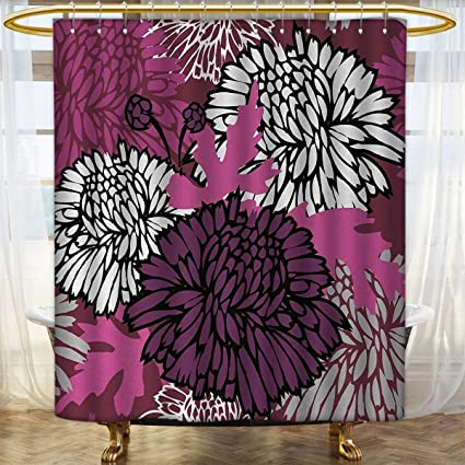 Anhounine Dahlia Shower Curtain Customized Drawing Of Large Chrysanthemum Blossoms And Buds In Shades Purple