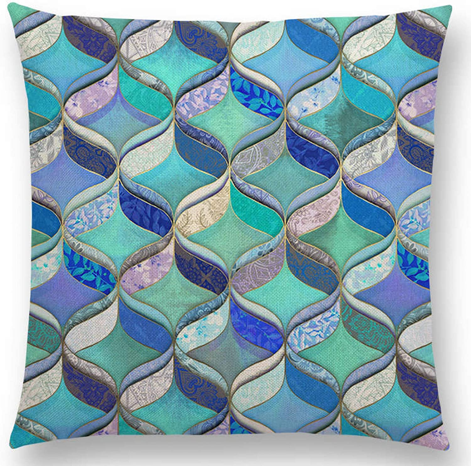 Cushion Cover Sofa pillowcase New Abstract Iridescent Stripes Bubbles Pastel Rainbow Geometric Painting Watercolor Sofa Throw Pillow Case Car Cushion Cover sofa home decor christmas new year gift