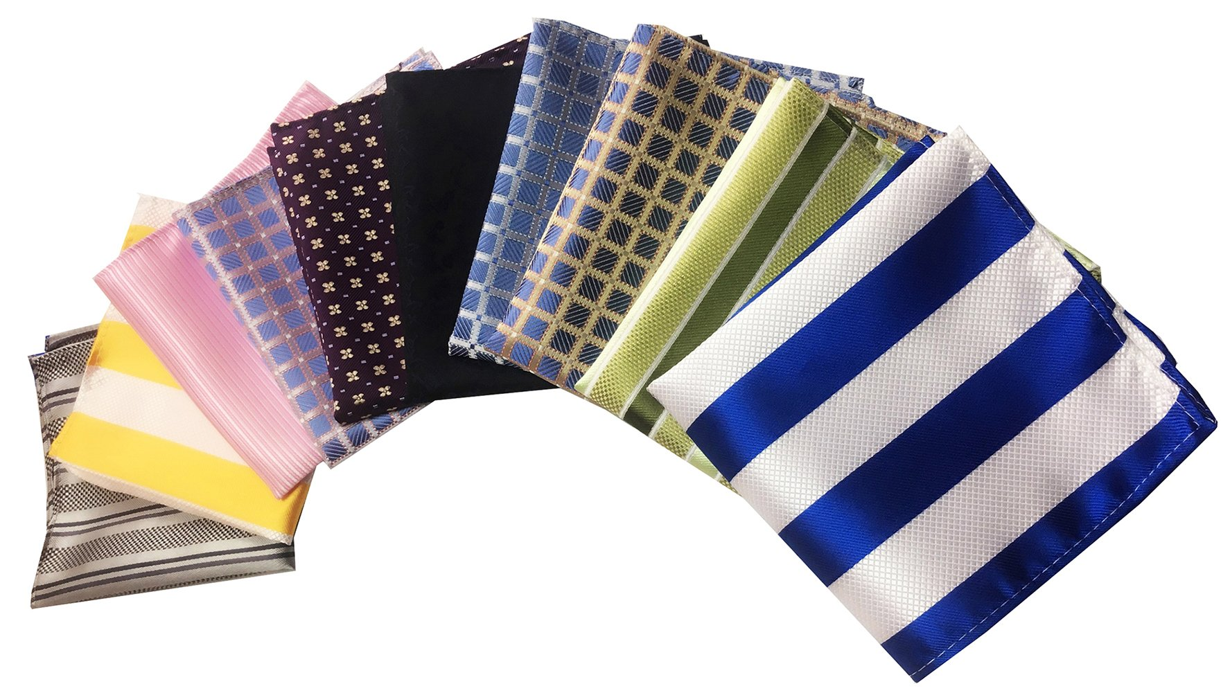 MENDENG Men's 10 Pack Mixed Color Striped Plaid Pocket Square Party Handkerchief by MENDENG (Image #1)