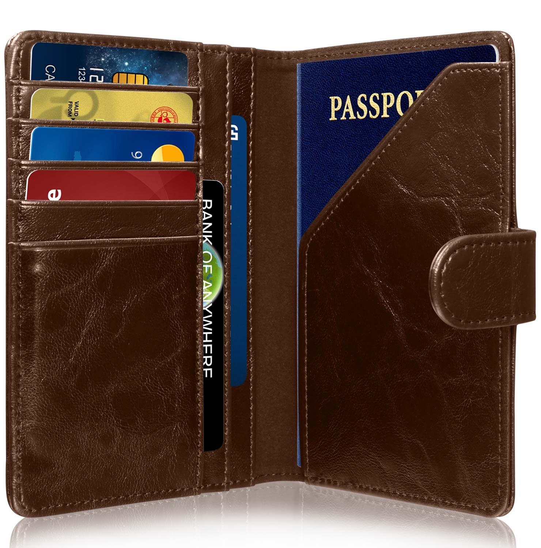 RFID Blocking Passport Holder (9 Slots), GreatShield Theft Proof Leather Wallet [5 Credit Card Slots | 3 Cash Compartments | 1 Passport Slot] for Men & Women – Brown