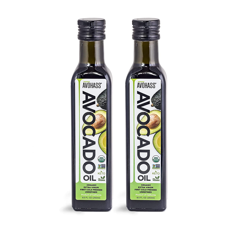 Avohass California USDA Organic Certified Extra Virgin Avocado Oil Made in USA 2 Bottle Case