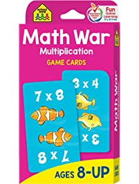 School Zone - Math War Multiplication Game Cards - Ages 8 and Up, Grades 3 to 5, Math Games, Beginning Algebra...