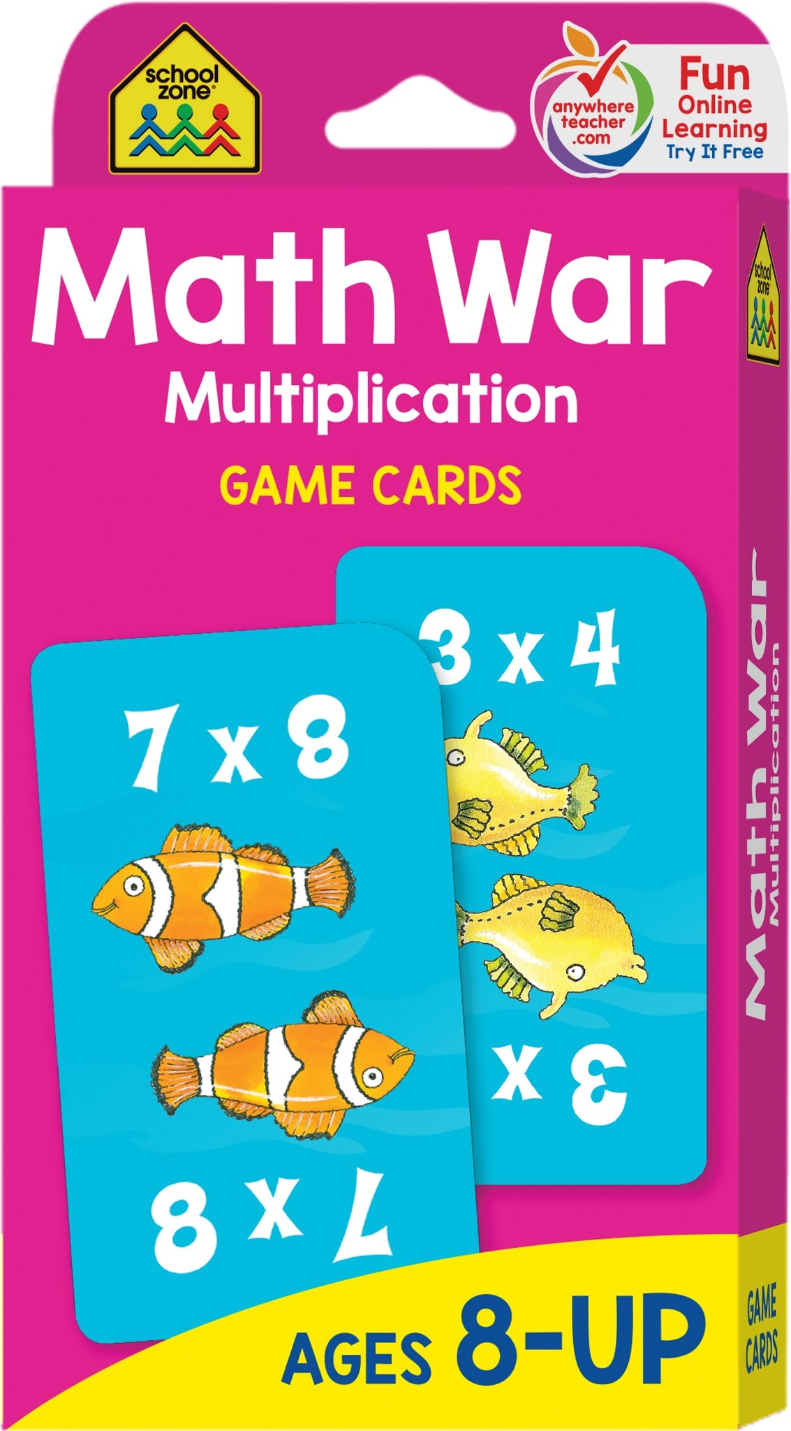 School Zone - Multiplication War Game Cards - Ages 8-Up, Math Games ...