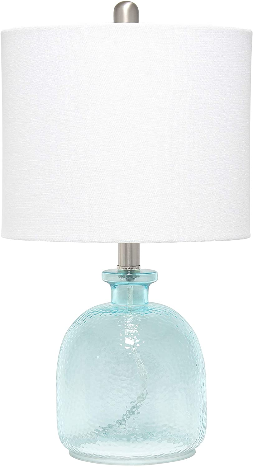Elegant Designs Lt3335 Cbl Textured Glass Table Lamp Clear Blue White Home Improvement