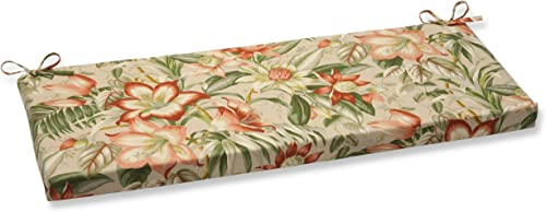 Pillow Perfect Outdoor Indoor Botanical Glow Tiger Stripe Bench Swing Cushion, 45 x 18 , Floral