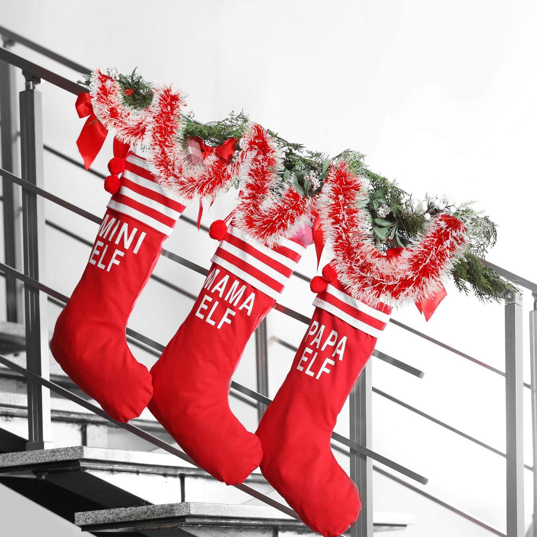 Blu 5 Pezzi 6.6 Piedi Ghirlanda di Natale Tinsel Ghirlanda di Tinsel Nevoso Ornamenti Lucidi Classici dellAlbero di Natale per Festa Decorazioni Pensili a Soffitto 3.5 Pollici Largo Ciascuno