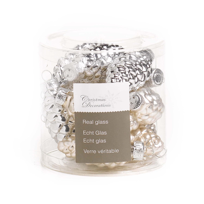 Amazon.de: Glas-Tannenzapfen, 60 mm, glanz/matt, 12 Zapfen/Dose, silber