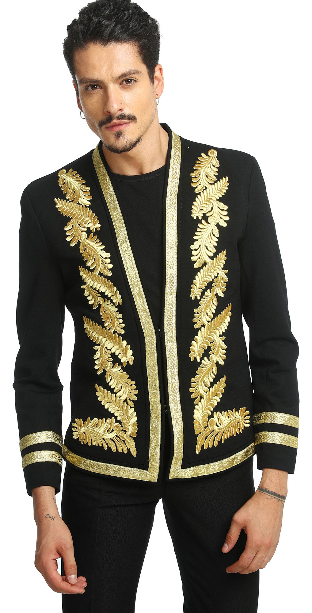 Pizoff Men's Luxury V-Neck Slim Fit Stylish Suit Blazer Jacket Long Sleeve Formal Dinner Dress AD001-10-L
