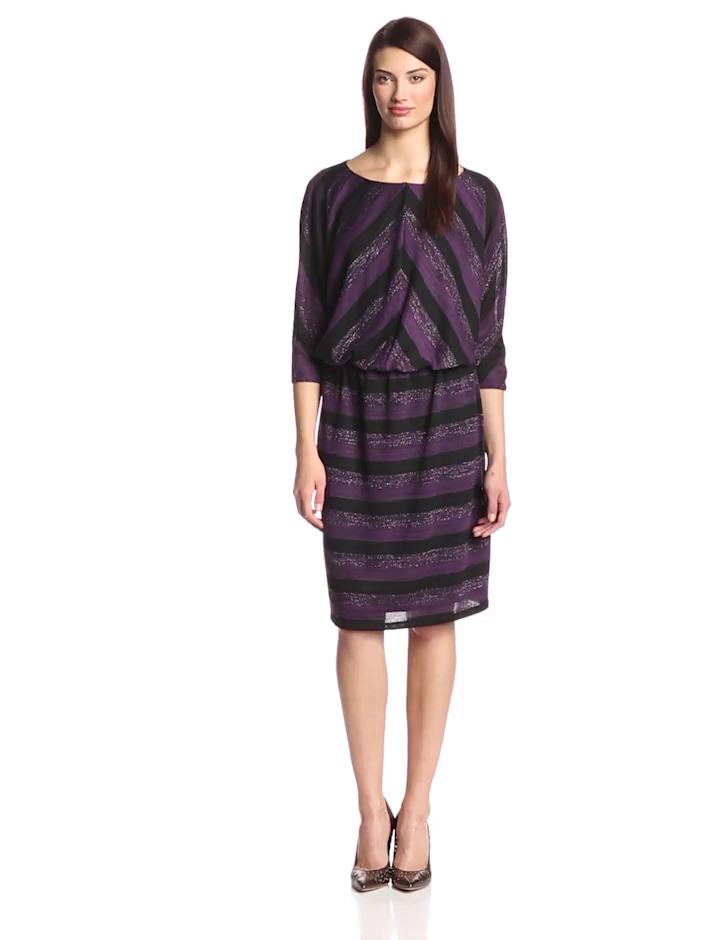 London Times Women's Plus-Size Stripe Blouson Sweater Dress, Purple, 22