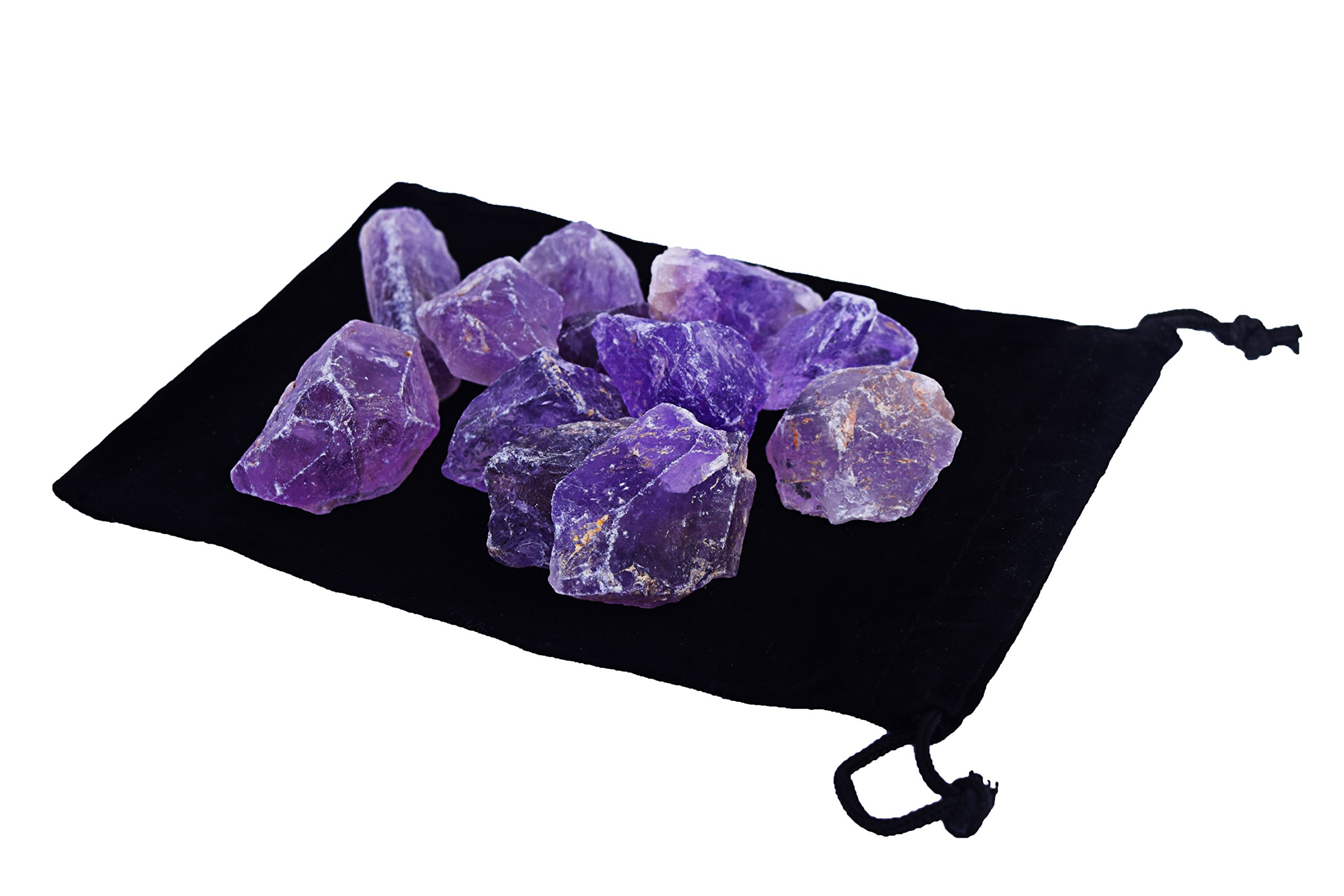 Zentron Crystals 1/2 Pound Rough Amethyst in Velvet Bag Large Raw Gemstones for Wire Wrapping, Polishing, Tumbling, Reiki and Wicca by Zentron Crystal Collection