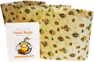 Beeswax Food Bags | 3 Medium Sizes 10x11x2 Inches | Cotton Fiber & Beeswax | Reusable & Biodegradable | Plastic-Free
