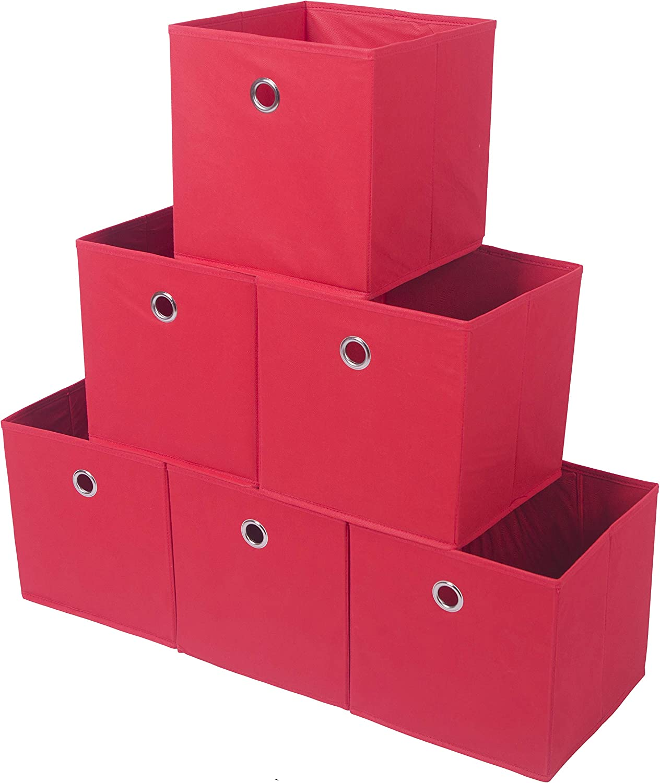 Amelitory Storage Bins Foldable Cube Organizer Fabric Drawer Set of 6 Red