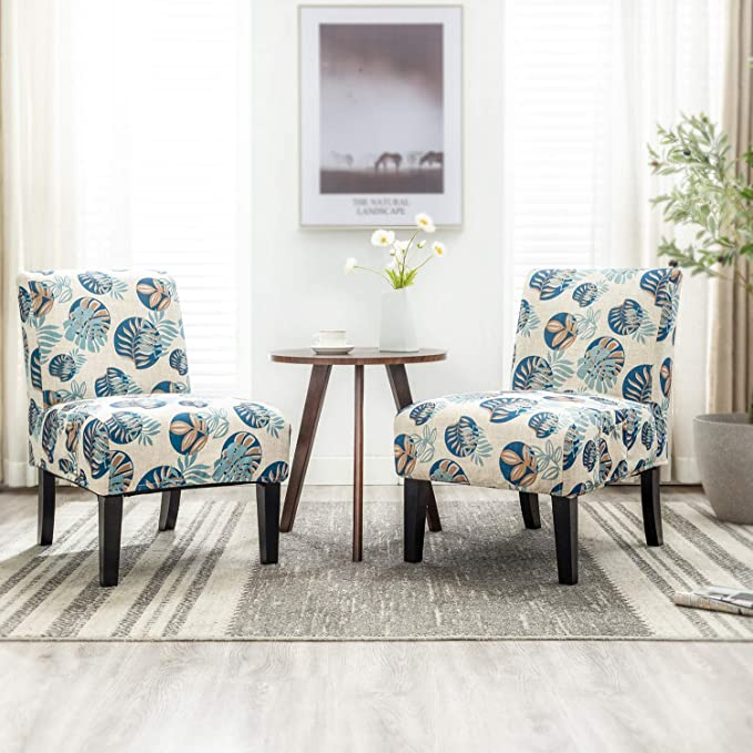 Altrobene Set of 2 Armless Accent Chairs with 4 Pack Removable Washable  Covers for Living Room Bedroom Dining Room (Beige&Floral&Blue)