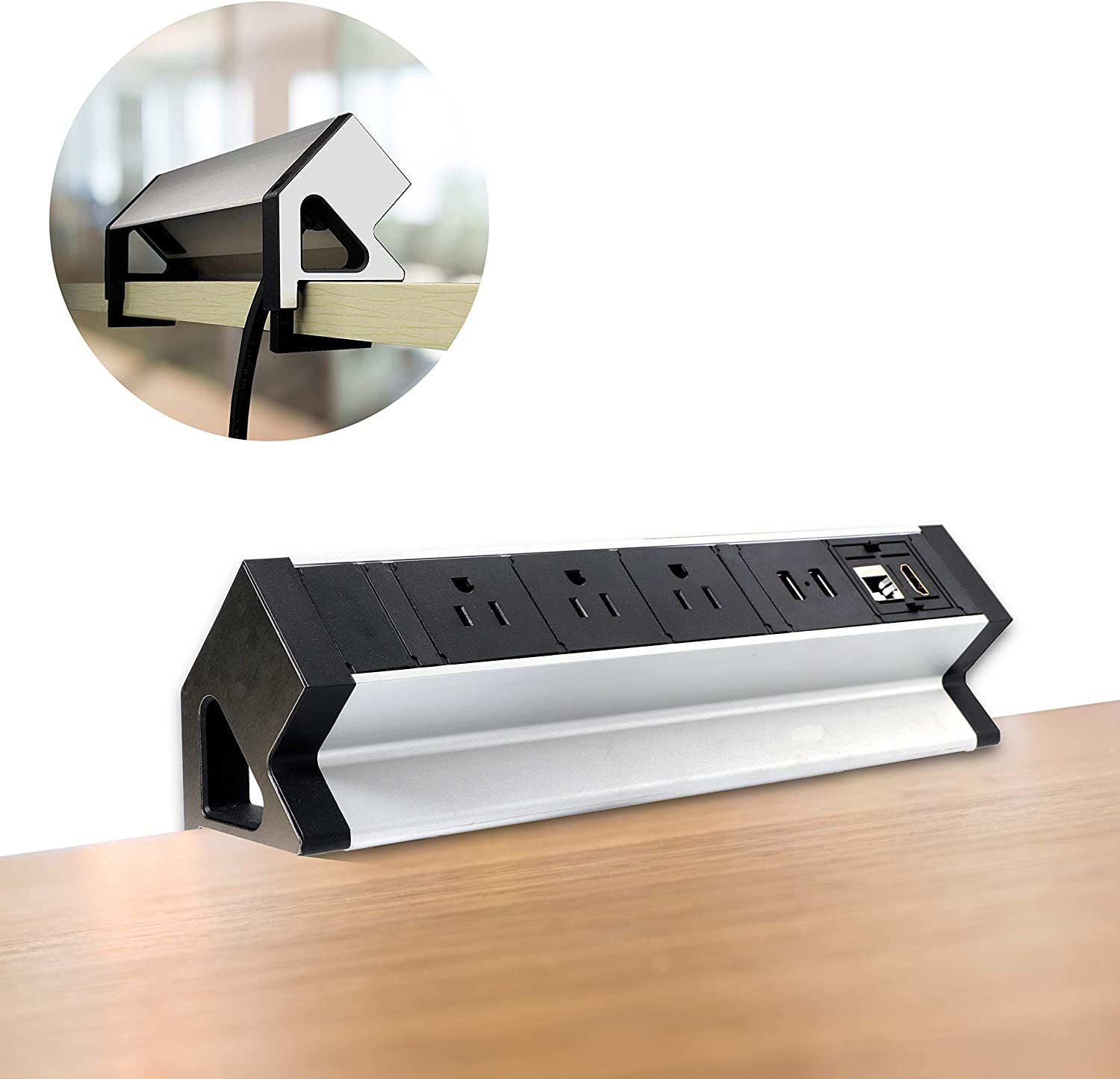 Desktop Clamp Power Strip, Black Desk Power Outlets, Removable Desktop Mount Multi-Outlets with USB, Power Socket Connect 3 US Plugs 2 USB Ports and 1 CAT6 Port 1 HDMI Port for Home Office Reading