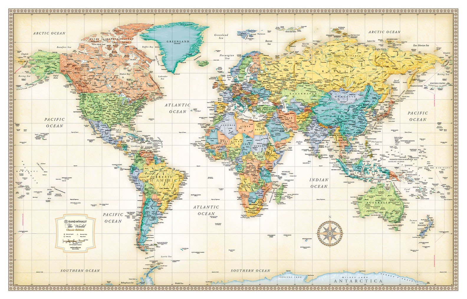 32x50 Rand McNally World Classic Wall Map Framed Edition