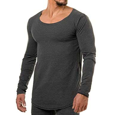 8c8111ff7a42 EightyFive Herren Longsleeve Sweatshirt Long Oversized Shirt Weiß Schwarz  1010  Amazon.de  Bekleidung