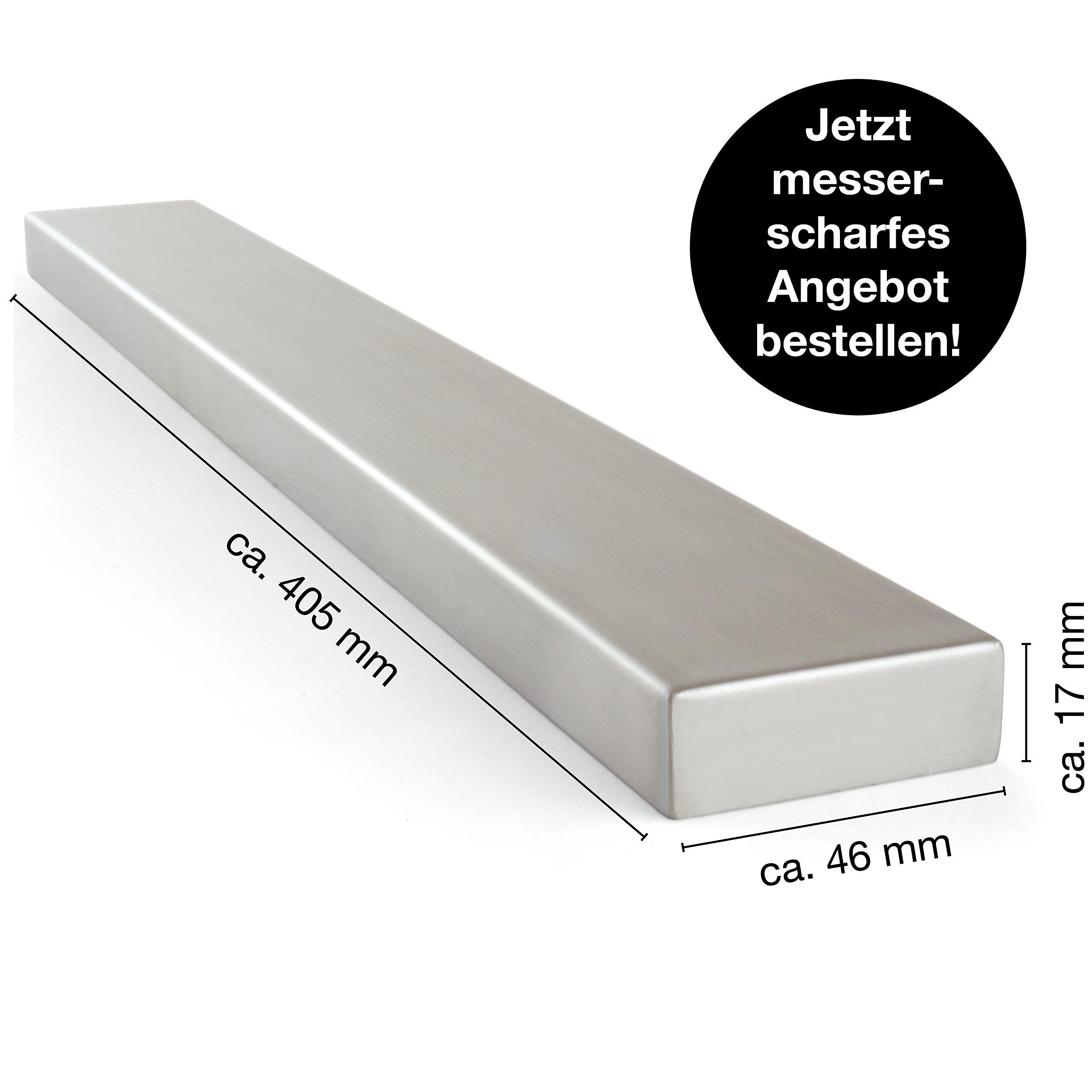Moritz & Moritz® Barra magnetica para Cuchillos, Universal, Acero Inoxidable, 40 cm, Herramientas de Cocina para Guardar Cuchillos