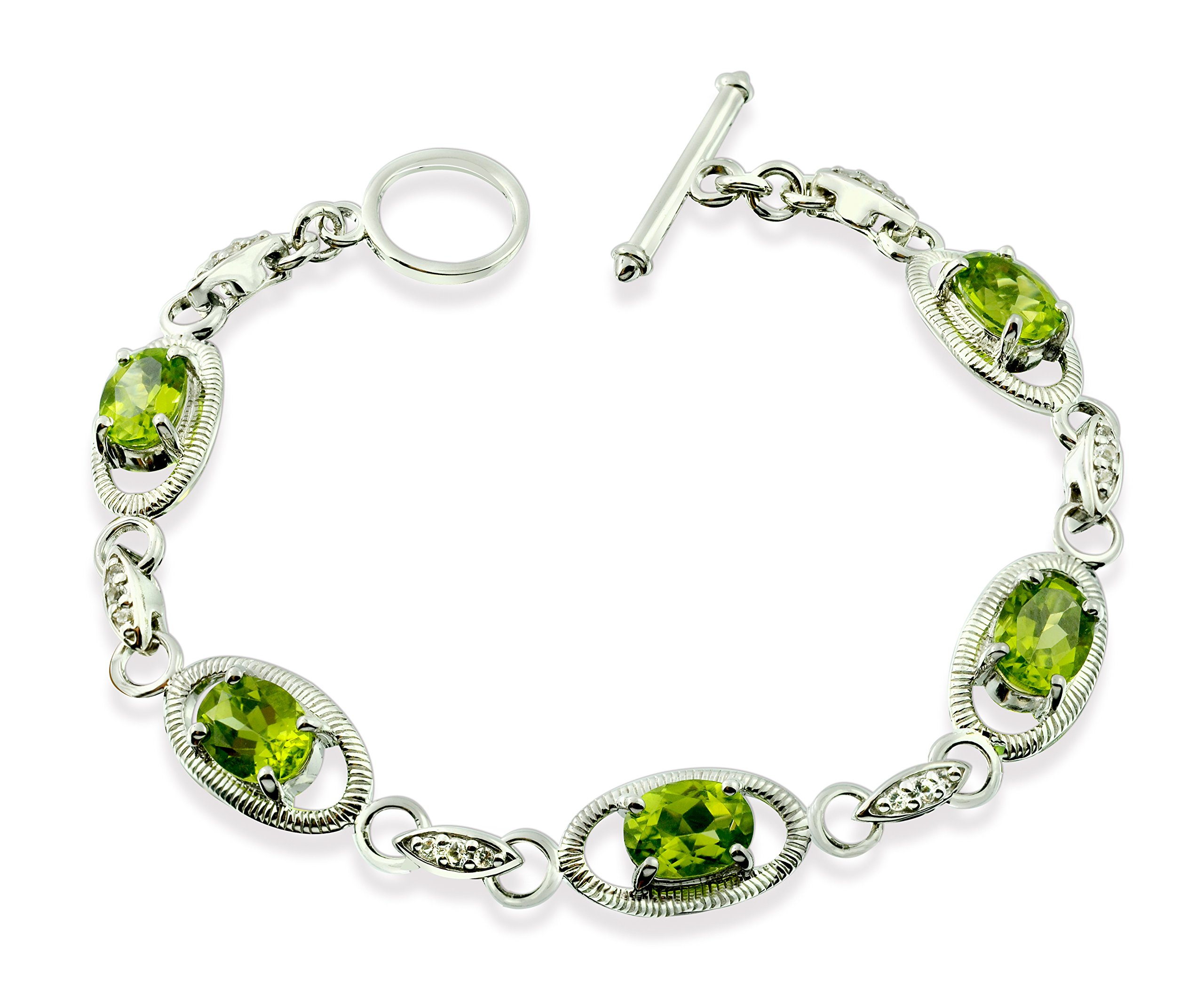 """Sterling Silver 925 TENNIS Bracelet GENUINE PERIDOT 7.5 Cts with RHODIUM-PLATED Finish, 7"""" Long (peridot)"""