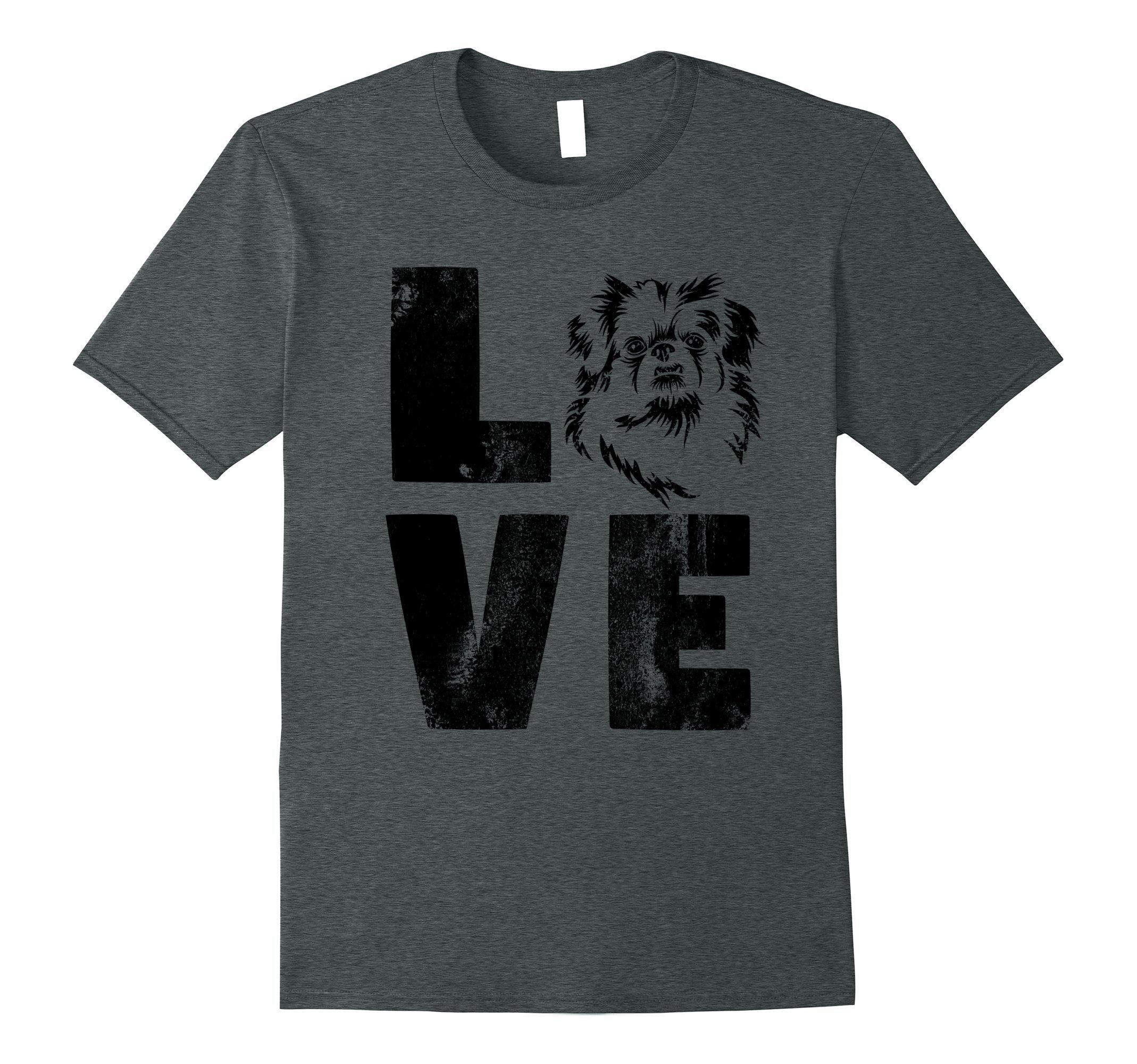 Mens Dog Shirt Love Pekingese Shirt Dog Lovers Shirt Dog Face 2XL Dark Heather