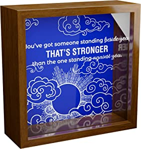 Christian Gifts for Men | Inspirational 6x6x2 Memorabilia Shadow Box | Wood Keepsake with Glass Front for Man of God | Religious Wall Decor | Spiritual Framed Quotes for Home Decoration