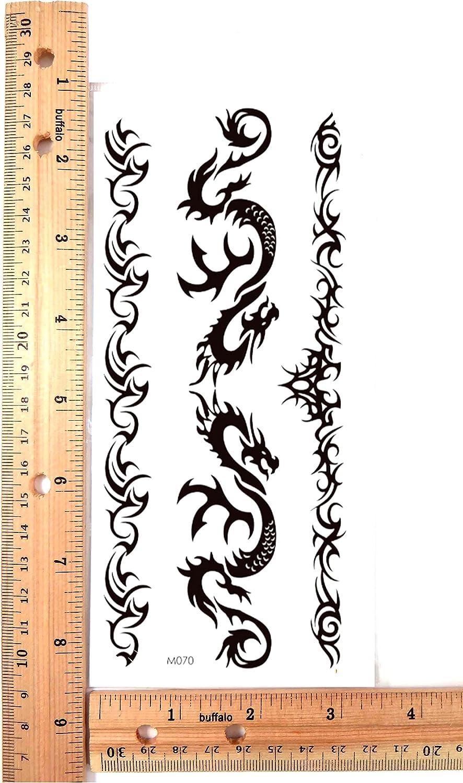 tribal arm band dragon black temporary tattoo finger wrist arm neck