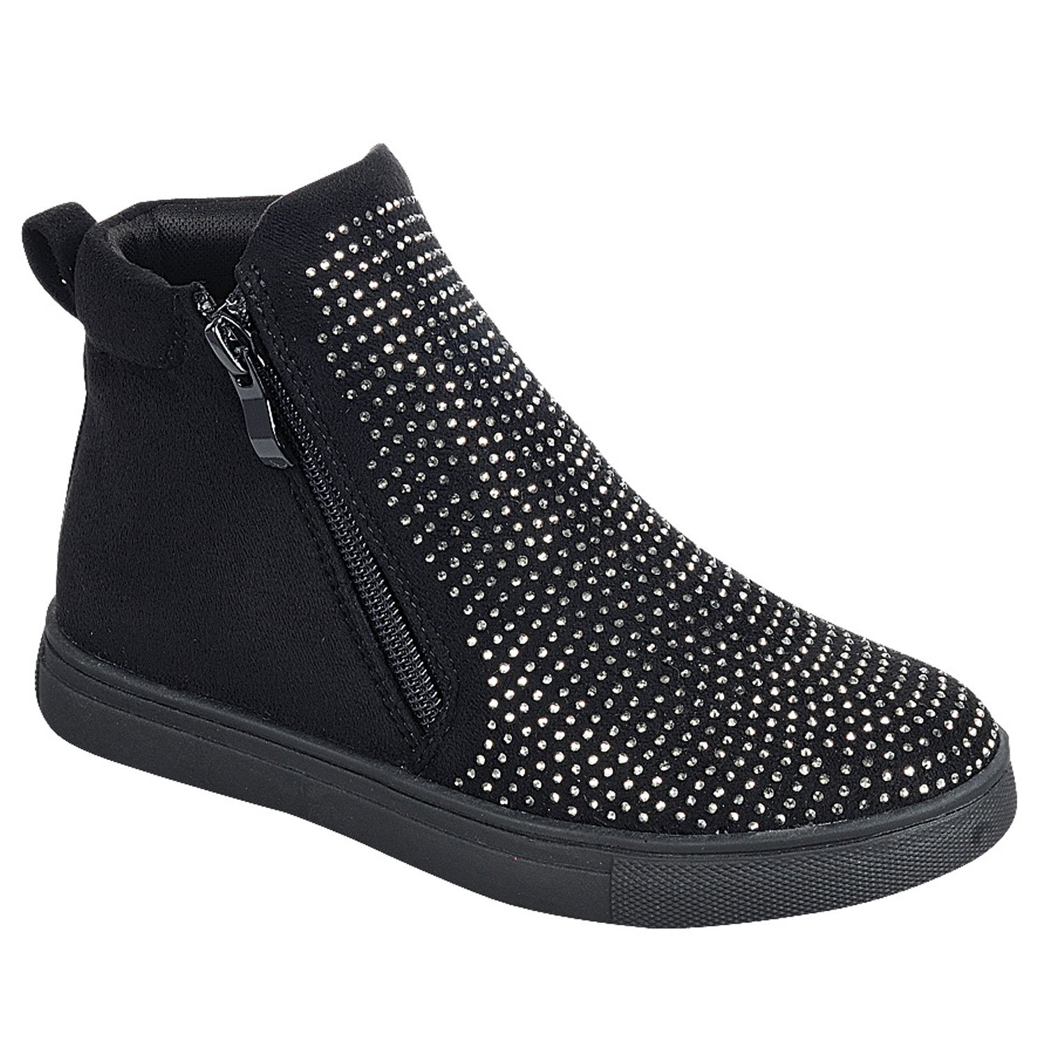 Top Black High Top No Heel Shoe Anti Skid Round Toe Faux Leather Zipper Slipon Bling Modern Flashy Flat Ankle Bootie Back to School Uniform Canvas Sneakers for Girls Youth Kid (Size 4, Black)