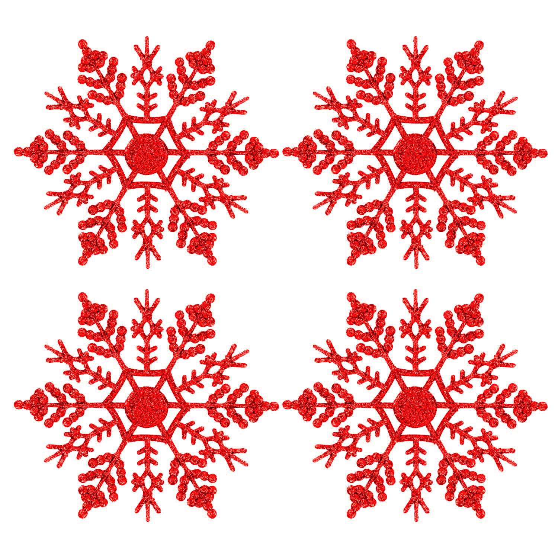 Fiocchi di neve Glitter, 24 Pack Fiocco di neve Forma Ornamento Ornamento Decorazione di Natale Decorazioni di Natale Accessori di Natale (Rosso)