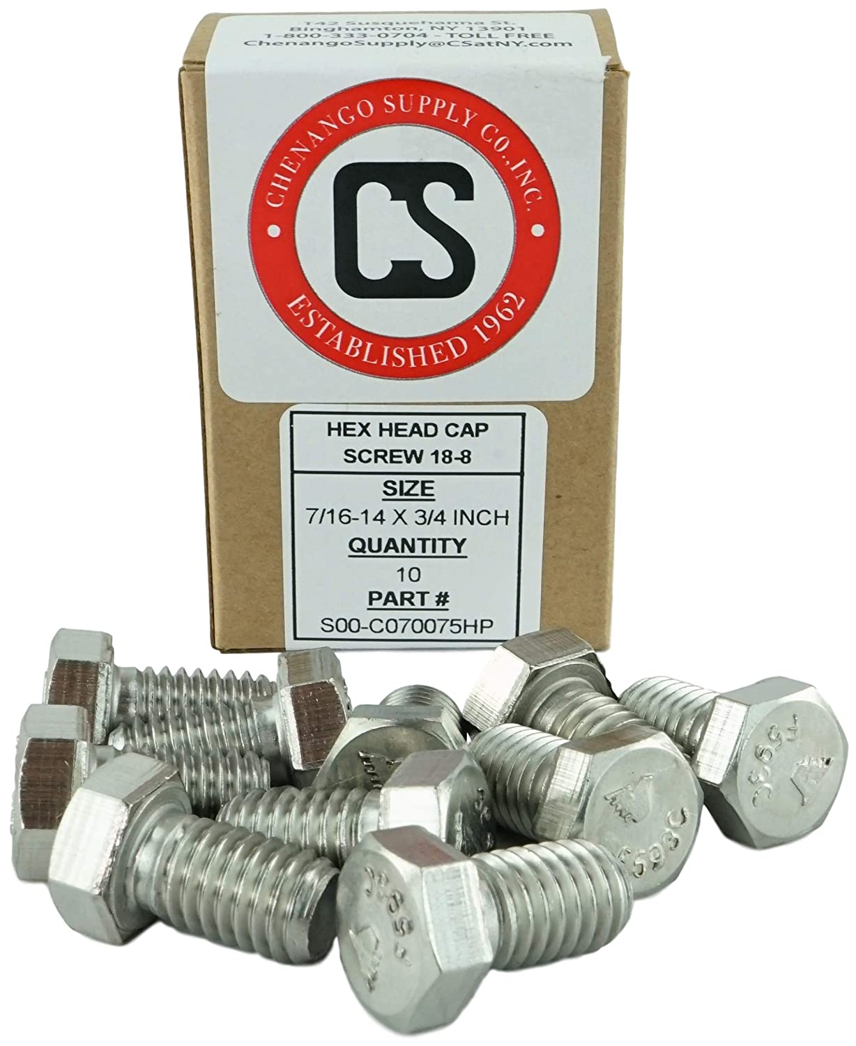 Stainless 7//16-14 x 1-3//4 Hex Head Bolts 7//16-14 x 1-3//4 3//4 To 5 Lengths Available in Listing 304 Stainless Steel 10 pieces