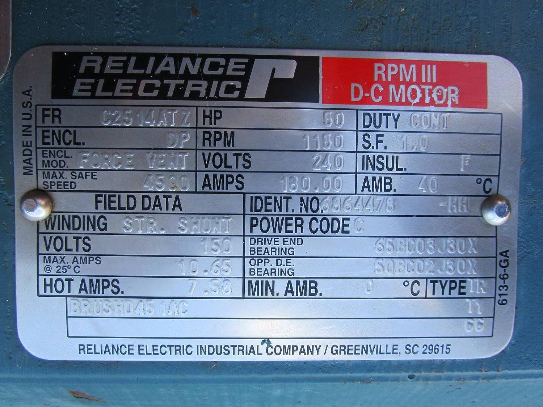 Reliance Electric 50 HP DC Motor C2514ATZ 1150 RPM 240V TR DP Shunt ...