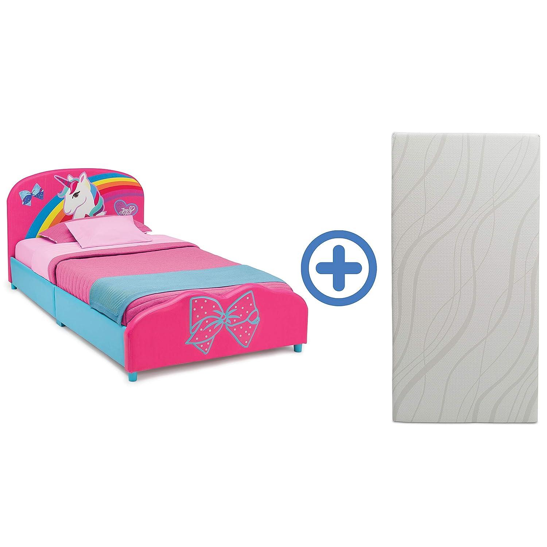 Delta Children Upholstered Twin Bed & 6-Inch Memory Foam Twin Mattress, JoJo Siwa