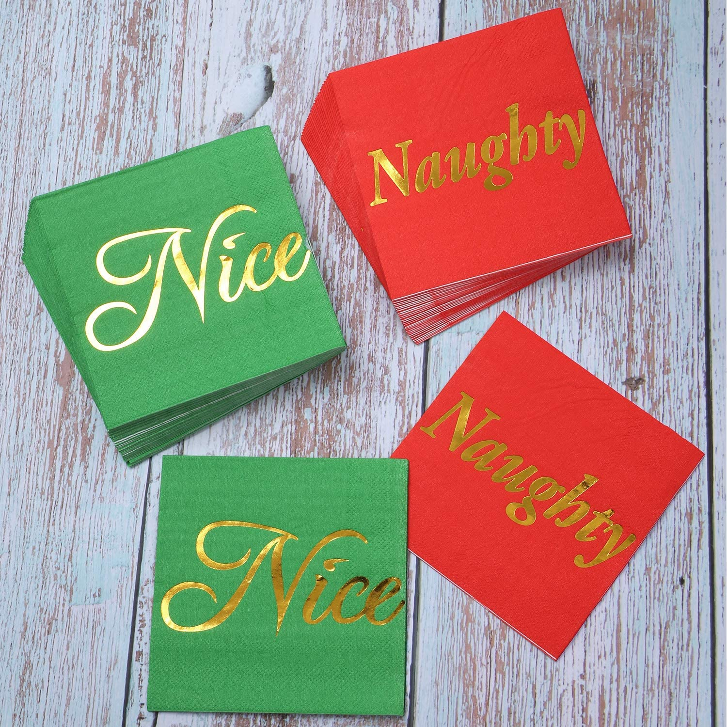 Aneco 60 Pack Naughty or Nice with Gold Foil Beverage Cocktail Napkins Red and Green Paper Napkins for Christmas Holidays Dinner Party Supplies with 2 Layers 5 by 5 Inches