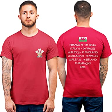 Cymru Tshirt - Rojo Gales Camiseta Resultados de Rugby Champions ...