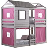 Donco Kids Deer Blind Bunk Loft Bed with Pink Tent, Twin/Twin, Light Grey