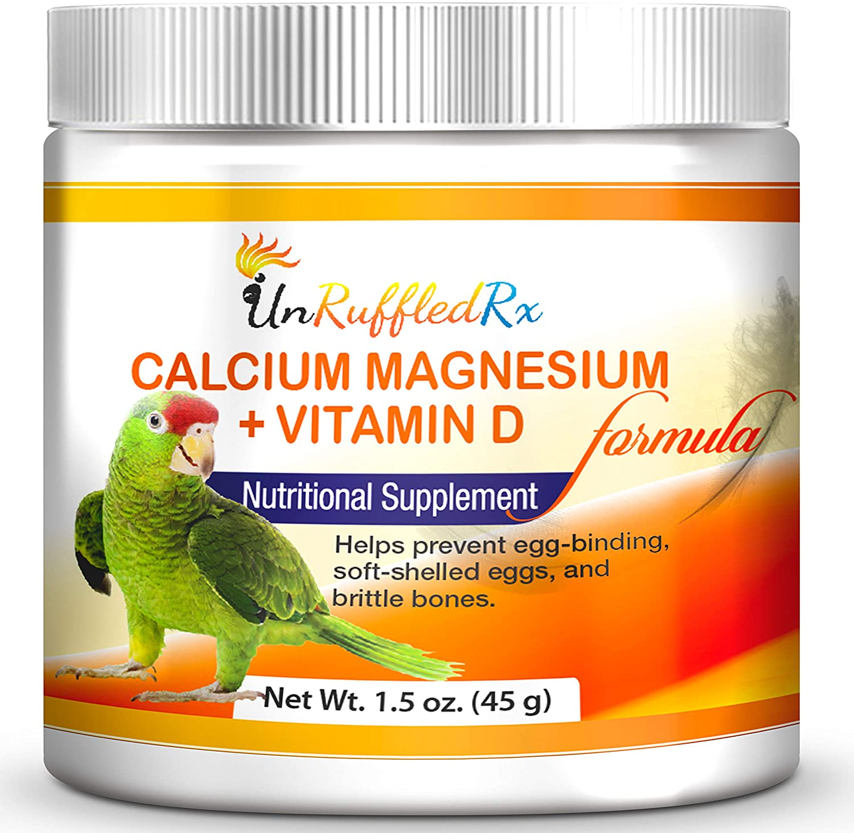 UnRuffledRx Calcium Supplement for Birds - Pet Parrot Calcium Supplement with Magnesium +D3
