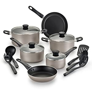 WearEver B022SF Complete Nonstick Dishwasher Safe Cookware Set, 15-Piece, Champagne