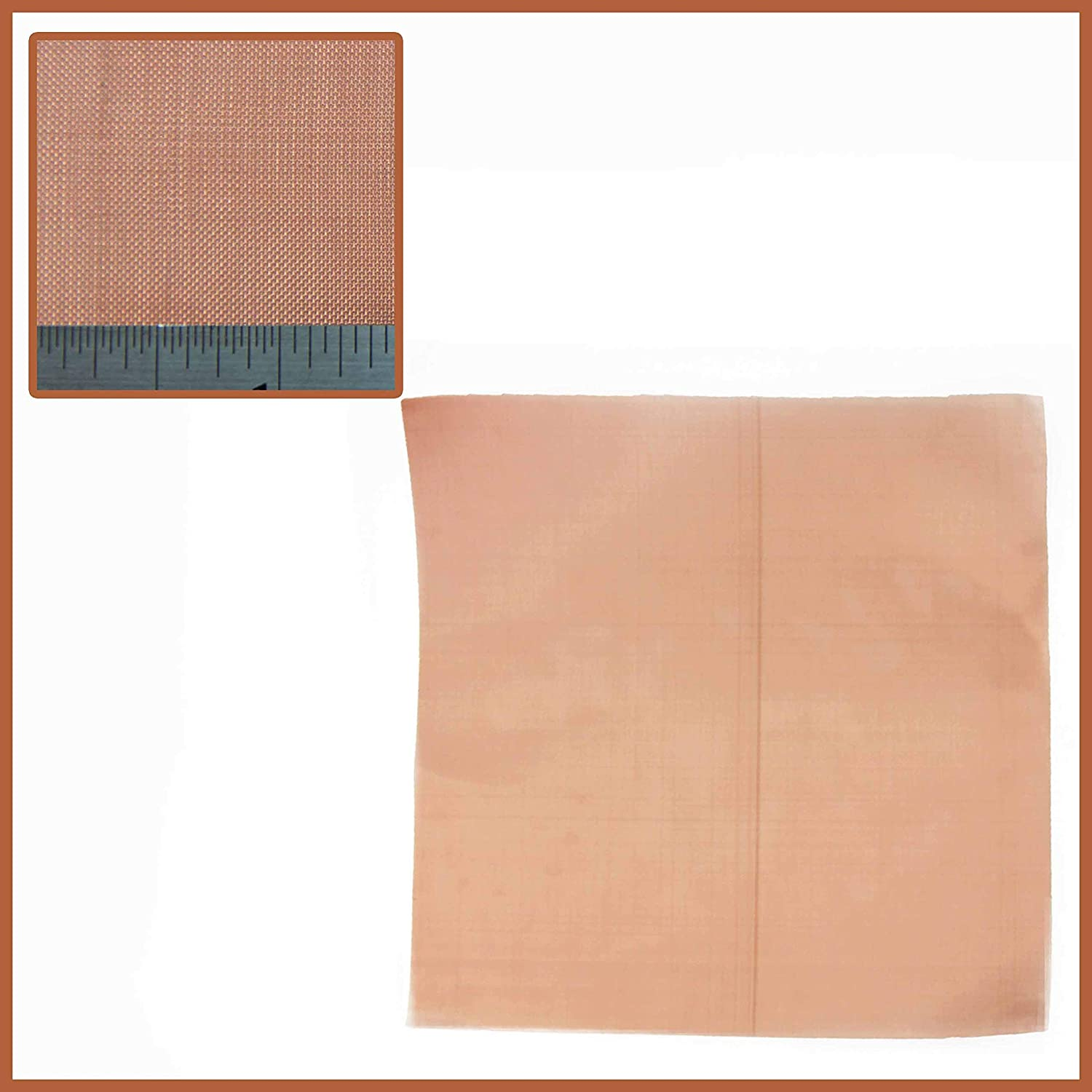 Fine - #60 x 0.16mm (60 Holes Per Linear Inch) - Pure Copper Woven Mesh by THE MESH COMPANY - 300 x 300mm Sheet