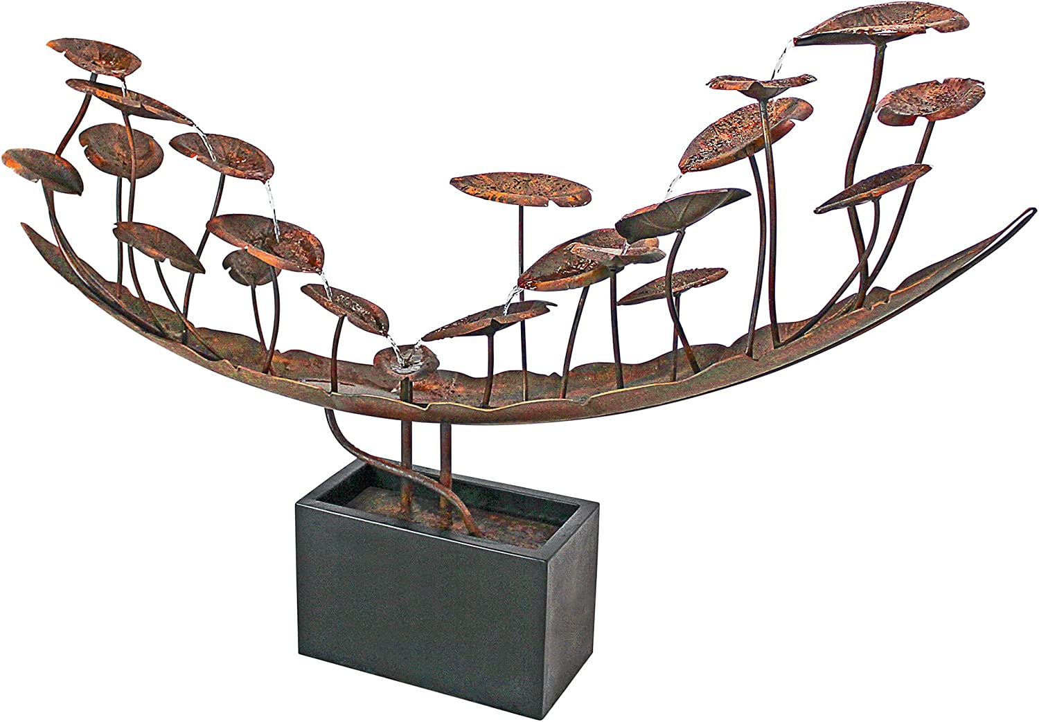 Water Fountain - Nearly 9 Foot Long Grande Asian Botanical Garden Decor  Metal Fountain - Outdoor Water Feature
