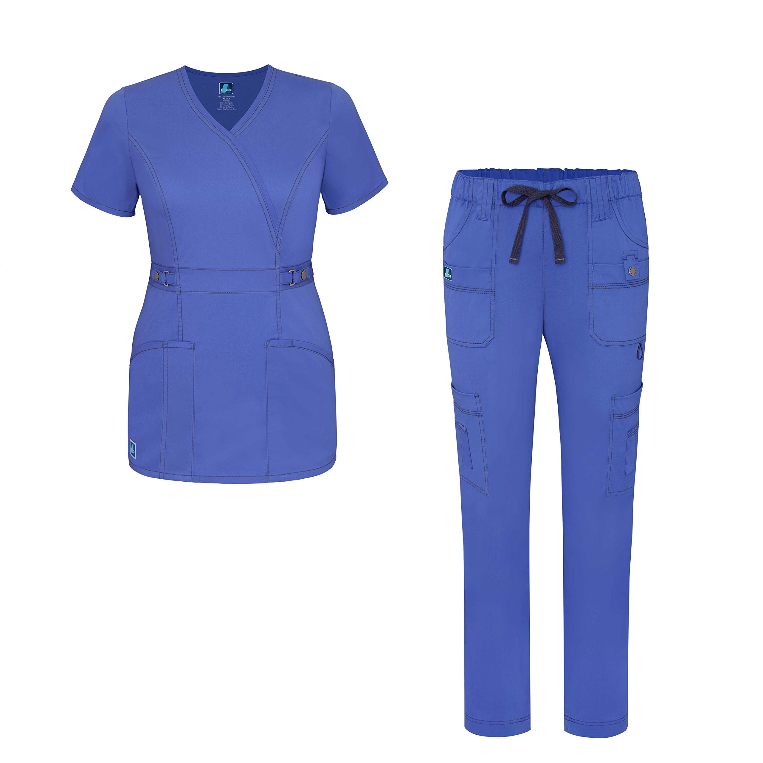 Pop-Stretch Jr. Fit Women Scrub Set - Crossover Scrub Top and Low Rise Slim Pants - 3505 - Ceil Blue - XS