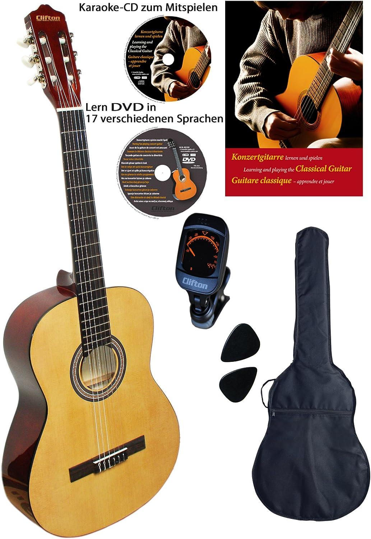 Clifton 4/4Guitarra de concierto Natural, Juego con libro, CD, DVD, afinador, abeto laminado, plectren, funda acolchada...