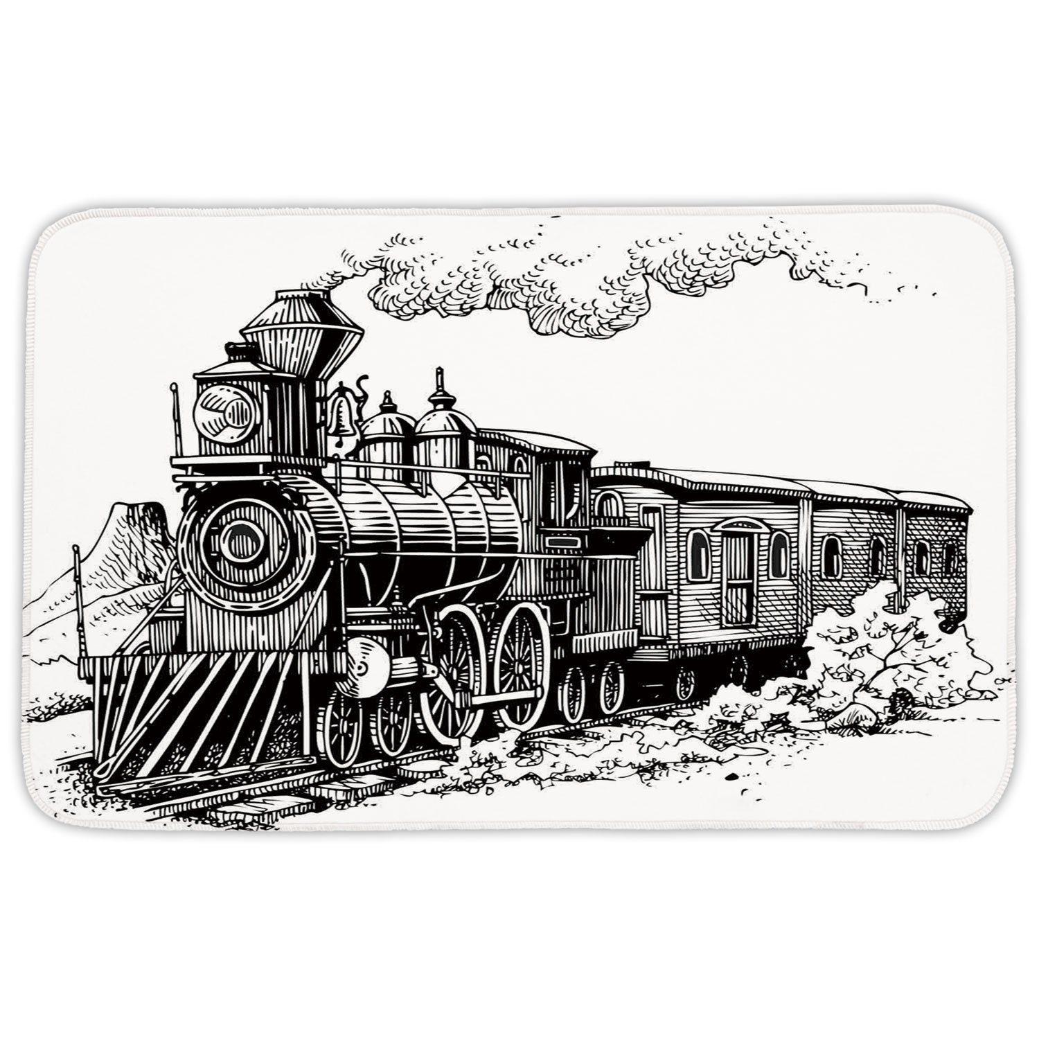 Rectangular Area Rug Mat Rug,Steam Engine,Rustic Old Train in Country Locomotive Wooden Wagons Rail Road with Smoke,Black and White,Home Decor Mat with Non Slip Backing