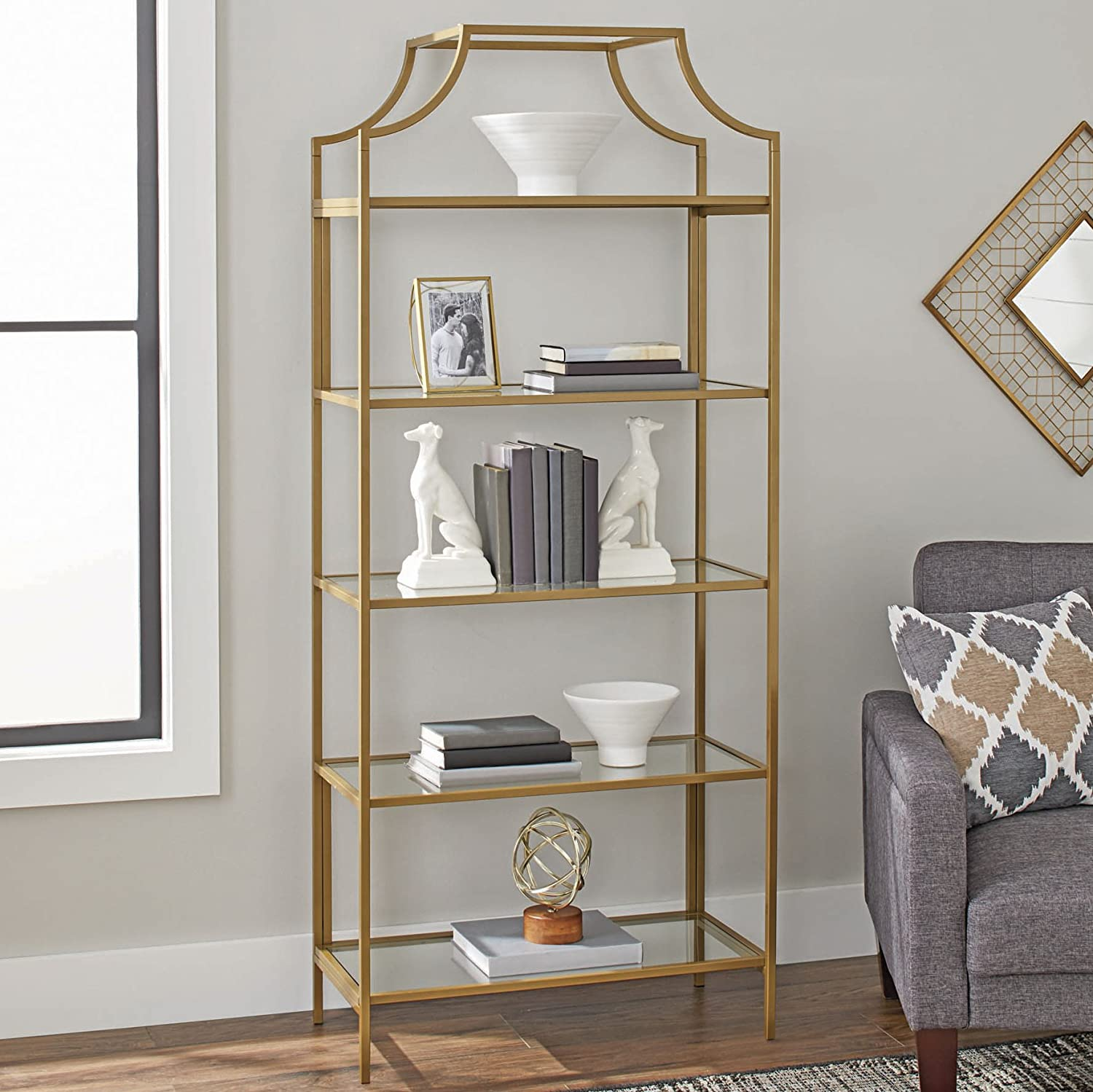 Better Homes Gardens 71 Nola 5 Tier Etagere Bookcase Gold Finish Better Homes Gardens 71 Nola 5 Tier Etagere Bookcase Gold Finish Amazon Co Uk Office Products