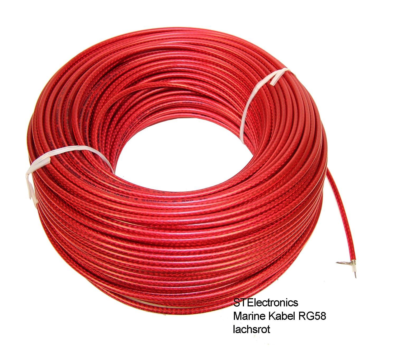 1 metro cable coaxial RG-58 lachsrot - Cable coaxial RG58 para FM Radio VHF en Marino Calidad para Yates Barco Marítimo Radio Equipo Cable Coaxial RG58/U, ...