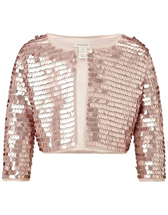 6fd6293cbf Girls Rose Gold Zooey Sequinned Bolero Party Jacket Wedding occasion Satin  Lined (12-13