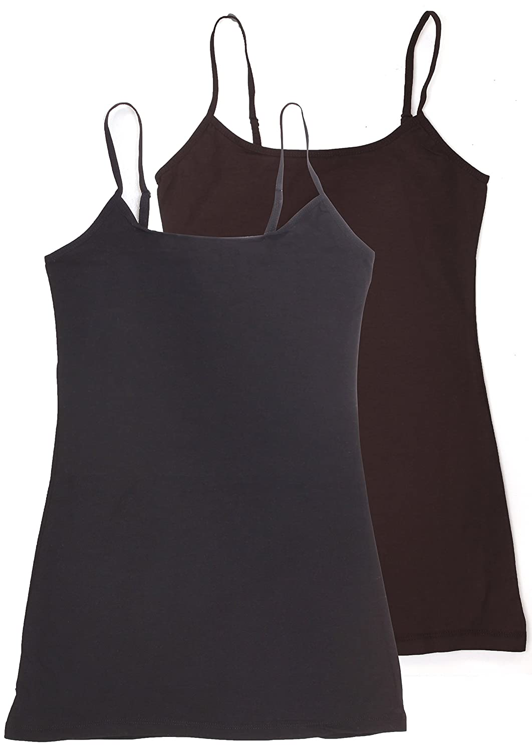 2698cef09d9a74 Top1  Active USA Basic Women s Long Cami Set With Built In Bra (2 Pack) -  Junior Sizes