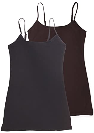0f9f561b6 Active USA Basic Women s Long Cami Set With Built In Bra (2 Pack ...