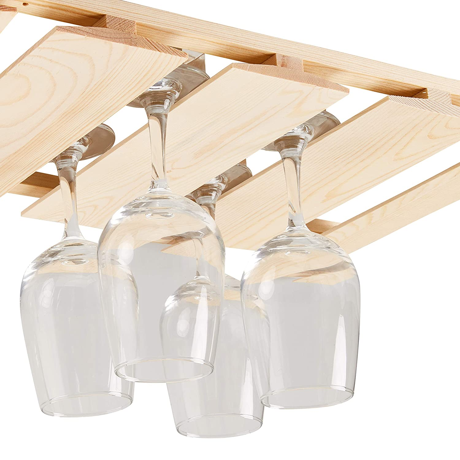 Amazoncom Wooden Wine Glass Rack Stemware Rack Hanging Wood