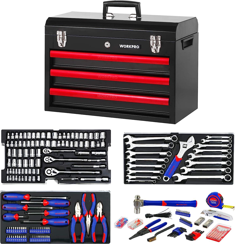 WORKPRO 408-Piece Mechanics Tool Set with 3-Drawer Heavy Duty Metal Box (W009044A) - -