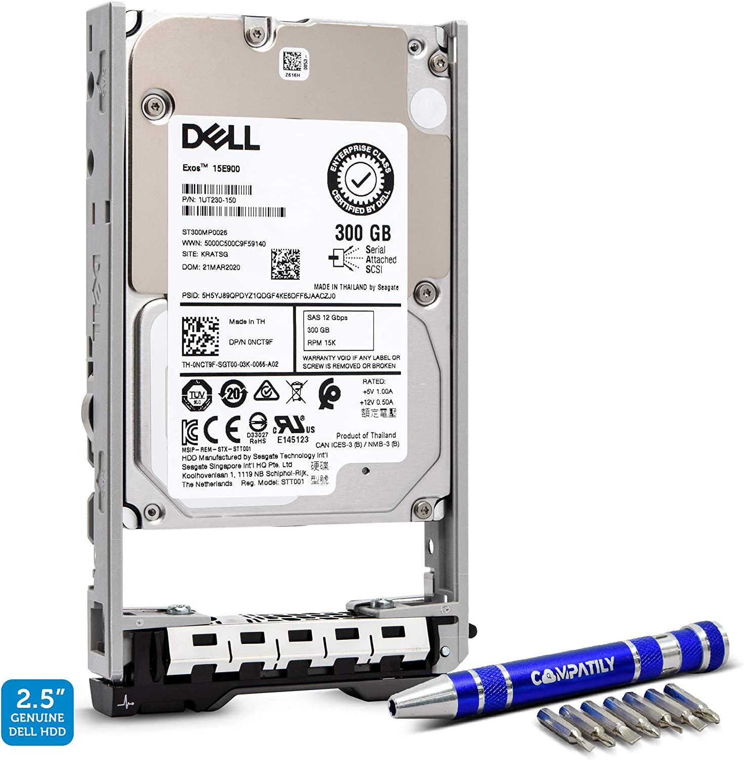 Dell 400-AJRK 300GB 15K RPM SAS 12Gbps 2.5-in 13G Hard Drive Bundle with Compatily Screwdriver | Enterprise Hard Drive Compatible in 13th Generation SFF PowerEdge Servers