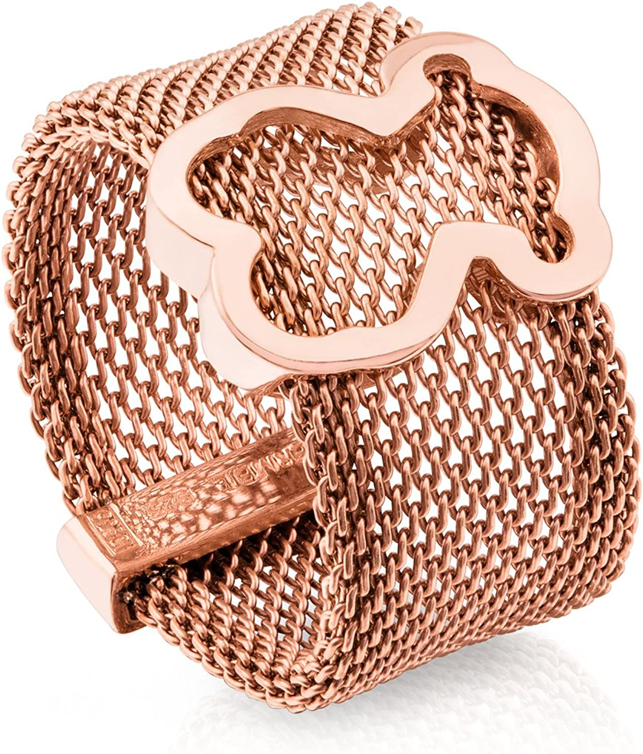 TOUS Icon Mesh 925 Rose Vermeil and IP Steel Ring