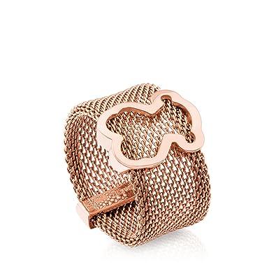 5666d49bcc54 Anillo TOUS Mesh de acero IP rosado con motifo de plata vermeil rosa   Amazon.es  Joyería